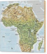 Africa Continent Map With Relief Wood Print