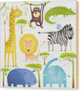 African Animals Fun Cartoon Clip Art Wood Print