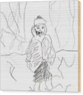 After Billy Childish Girl Pencil Drawing B2-16 Wood Print