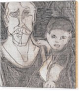 After Billy Childish Pencil Drawing 19 Wood Print