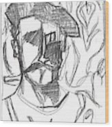 After Billy Childish Pencil Drawing B2-4 Wood Print
