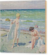 After The Swim  Oil On Canvas Wood Print