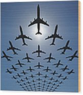 Airplane Silhouettes Fly In V Formation Wood Print