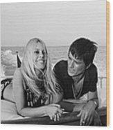 Alain Delon And Brigitte Bardot In Wood Print