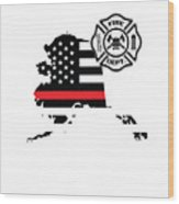 Alaska Firefighter Shield Thin Red Line Flag Wood Print