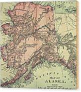 Alaska Old Map Wood Print