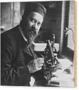 Albert Calmette Working With Microscope Wood Print