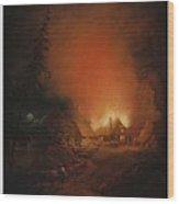Alexander Lauraeus 1783-1823, La Ferme En Feu Dans La Nuit - 1809 Wood Print