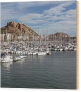 Alicante Marina And The Santa Barbara Castle Wood Print