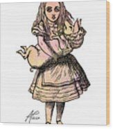 Alice And The Pig Wood Print
