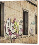 Alley Graffiti And Windows - Romania Wood Print