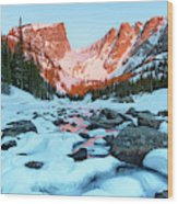 Alpenglow At Dream Lake Rocky Mountain National Park Wood Print