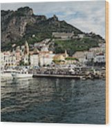 Amalfi Town Seen From Ferry Approaching Wood Print