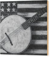 American Banjo Black And White Wood Print