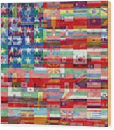 American Flags Of The World Wood Print