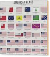 American Flags Wood Print