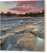 American River Parkway At Sunset Wood Print