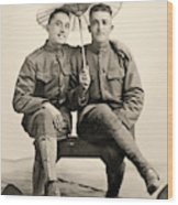 American Soldiers With A Parasol Circa 1915 Wood Print