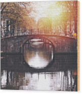 Amsterdam Cityscape With Canal Wood Print