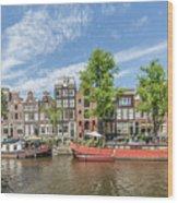 Amsterdam Prinsengracht Houseboats Wood Print