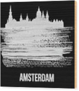Amsterdam Skyline Brush Stroke White Wood Print