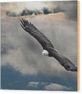 An Eagle In Flight Rising Above The Wood Print