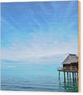 An Exclusive Resort Bungalow Over A Calm Tropical Sea. Wood Print