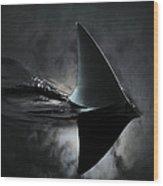 An Image Of A Shark Fin Against Moon Wood Print
