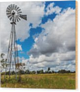 An Old Vintage Windmill Used To Pump Wood Print