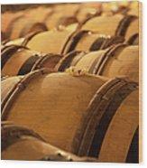 An Old Wine Cellar Full Of Barrels Wood Print