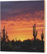 An Orange Glow Fills The Desert  Wood Print