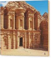 Ancient Temple In Petra, Jordan Wood Print