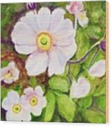 Anemones Birthday Card Wood Print