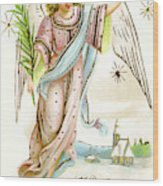 Angel  Carrying A Palm Branch Wood Print