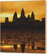 Angkor Wat At Sunrise Wood Print