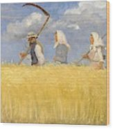 Anna Ancher - Harvesters Wood Print