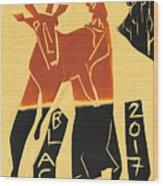 Antelope Black Ivory Woodcut9 Wood Print