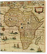 Antique Africa Map Wood Print