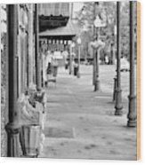 Antique Alley In Black And White Wood Print