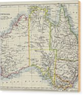 Antique Map Of Australia Wood Print