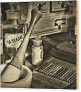 Apothecary-vintage Pill Roller Sepia Wood Print