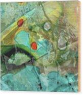 Aqua And Yellow Abstract Art - Juxtaposition - Sharon Cummings Wood Print