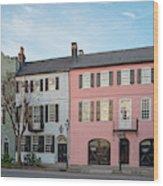Architectural Photograph Of Rainbow Row On East Bay Street - Charleston South Carolina Wood Print