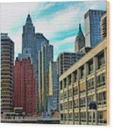 Architecture Nyc From Brooklyn Bridge  Wood Print