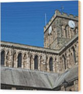 architecture of Hexham cathedral and clock tower Wood Print