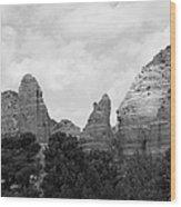 Arizona Mountain Red Rock Monochrome Wood Print