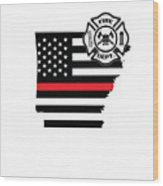 Arkansas Firefighter Shield Thin Red Line Flag Wood Print