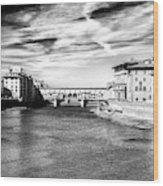 Arno River View In Florence Wood Print