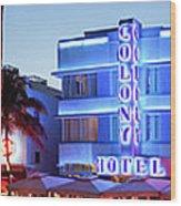 Art Deco Hotels On Ocean Drive At Dusk Wood Print
