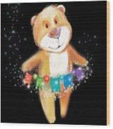Artoon Bear  On A Black Background. New Wood Print